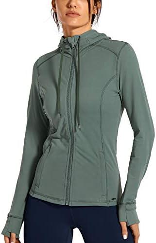 CRZ YOGA Women s Brushed Full Zip Hoodie Jacket Sportswear Hooded Workout Track Running Jacket product image