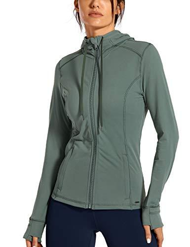 CRZ YOGA Damen Sport Jacke mit Kapuze Yoga Sweatshirts mit Daumenloch Laufjacke Voll Reißverschluss Zipper Seitentasche Grauer Salbei 36