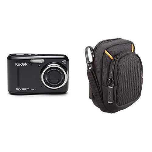 Kodak PIXPRO fz43fotocamere digitali 16.44Mpix Zoom Ottico 4x & Amazon Basics - Custodia per fotocamera compatta, misura media