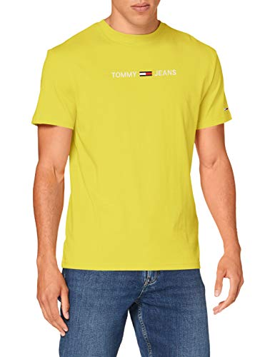 Tommy Jeans TJM Straight Logo tee Camisa, Amarillo Valle, M para Hombre