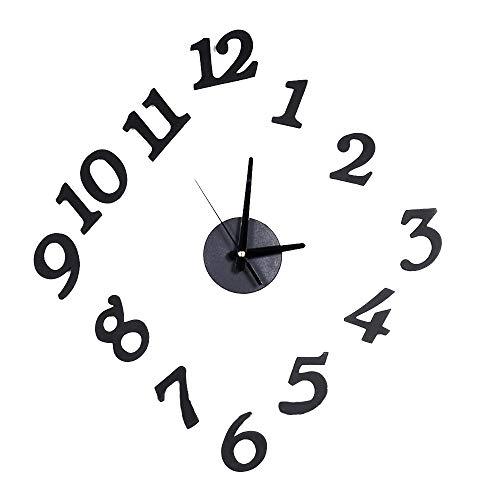 Ogquaton Handgemachte DIY Uhr Anzahl wandaufkleber Uhr kreatives Design innen Uhr schwarz 1 stück praktisch und nützlich