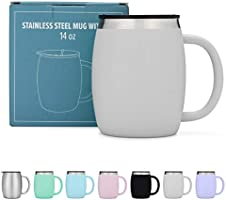Stainless Steel Coffee Mug with Lid - 14 Oz Double Walled Insulated Coffee Beer Mugs - Grey - Best Value - BPA Free...
