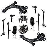 Detroit Axle - 12pc Front Suspension Kit For Mustang - Both (2) Lower Control Arm & Ball Joint, All (4) Inner & Outer Tie Rods, 2 Tie Rod Boot, 2 Wheel Hubs