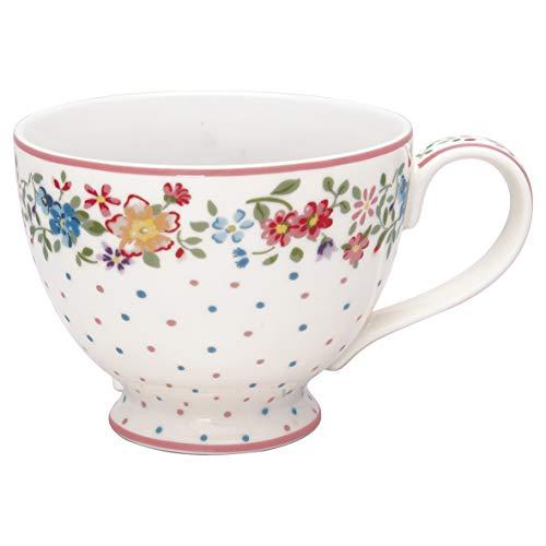 GreenGate Teetasse Belle Weiß Blumen Punkte Porzellan Tasse mit Henkel 400 ml