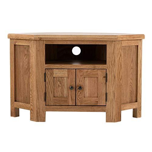 Roseland Furniture Zelah Oak Corner TV Cabinet Unit for Living Room 105cm Rustic Solid Wood Television Stand Entertainment Centre for Lounge, Bedroom | Fully Assembled