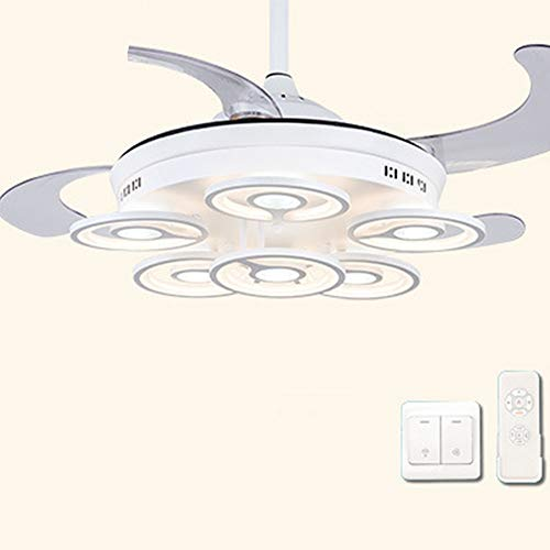 Nuokix Ventilador de techo LED con luz de 42 pulgadas de 52 pulgadas Control remoto AC DC Moderno Minimalista Sala de estar Comedor 110V - Lámpara de ventilador 220V Lampara Ahorradora de Energia
