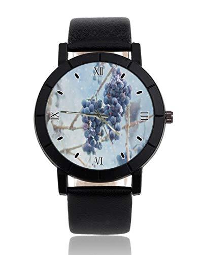 Uva copo de nieve personalizado reloj personalizado casual correa de cuero negro reloj de pulsera para hombres mujeres unisex relojes