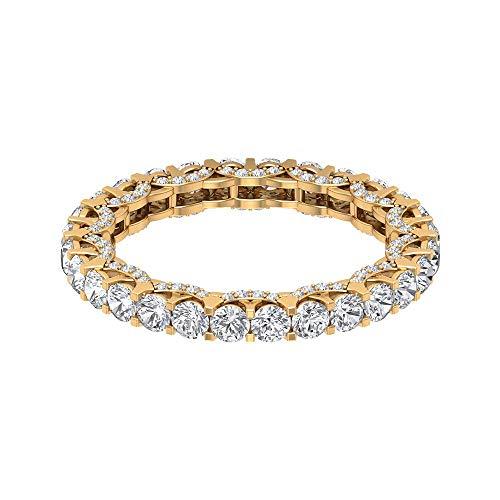 2,25 Karat SGL zertifizierter Diamant Gold Band Ring, einzigartige Braut Hochzeit Versprechen Ring, Antik Diamant Cluster Eternity Ring, 14K Gelbes Gold, Size:EU 64