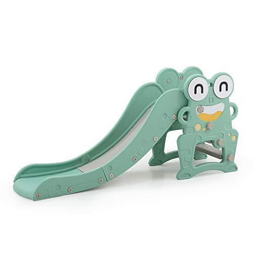 HAPPYMATY Frosch Rutsche Baby Rutsche aus Kunststoff Kinderrutsche mit Basketballkorb Spielzeug für Kleinkinder Rutschbahn Slide