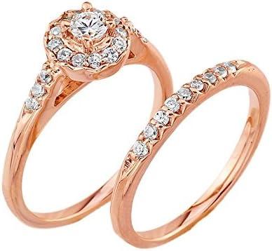 Elegant 10k Rose Gold Diamond Halo Wedding Engagement Ring Set (Size 6)