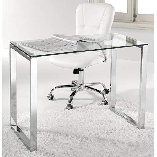 KITKAY Mesa Estudio o despacho Cristal y Patas cromadas de 100x50 cm. ⭐