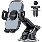 TORRAS Universal Car Phone Mount Holder [Military Grade], Cell Phone Holder for Car Windshield Dash Vent, Compatible with iPhone 11 Pro Max/XR/XS/X/8, Samsung Galaxy S20+Ultra/Note10 Plus S9 and All