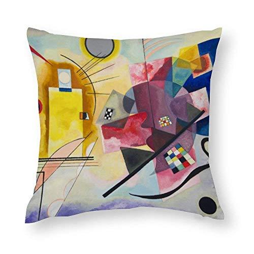 WH-CLA Funda de almohada Kandinsky Jaune Rouge Bleu Lumbar Oficina Funda de cojín con cremallera 45 x 45 cm, decoración del hogar, fundas de almohada impresas para sofá, colorido y acogedor
