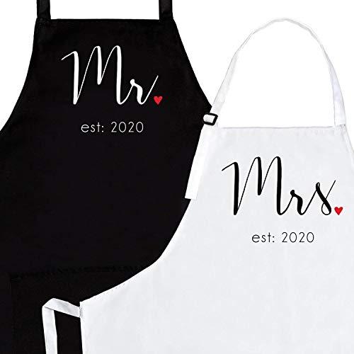 Prazoli Products Mr Mrs Est 2019 Apron Set - Engagement & Wedding...