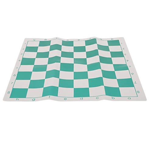 JOOFFF Schachbrett Licht und einfach zu Tragen Schachbrett PVC Schachbrett einfache Tragbare Schachbrett für Camping, Picknick, Outdoor-Sport, grün und weiß