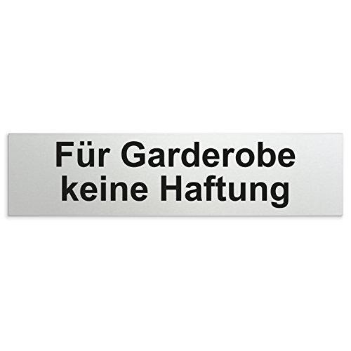 Kinekt3d Leitsysteme Schild/Türschild 160 x 40 x 1,5 mm - Aluminium Vollmaterial eloxiert - Oberfläche in geschliffener Edelstahloptik - 100{1096ef51a583244b711ceea3a80d02d2c89fc0ea5a0cc4429db4f663e5113374} Made in Germany (Für Garderobe keine Haftung)