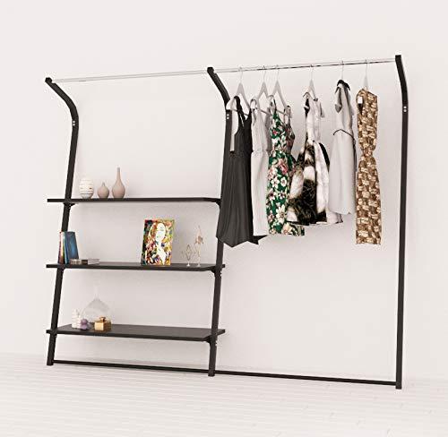 RONNIEART decoración de Pared Negro Mate Perchero con estantes, DE 209cm Gondola Tienda Cabina Armario Moderno, tamaño