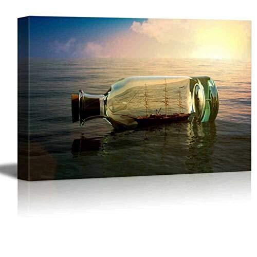 haiyilan Dekoration Wandkunst Boot in der treibenden Flasche auf See Retro-Stil Malerei Zusammenfassung Leinwanddruck Grafik Plakat Modern Dekoration Bilder für Badezimmer Wand Leinwand für Flur Gedr
