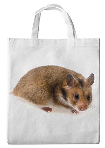 Merchandise for Fans Einkaufstasche- 38x42cm, 8 Liter - Motiv: Hamster Zwerghamster Goldhamster Feldhamster Porträt [ 01 ]