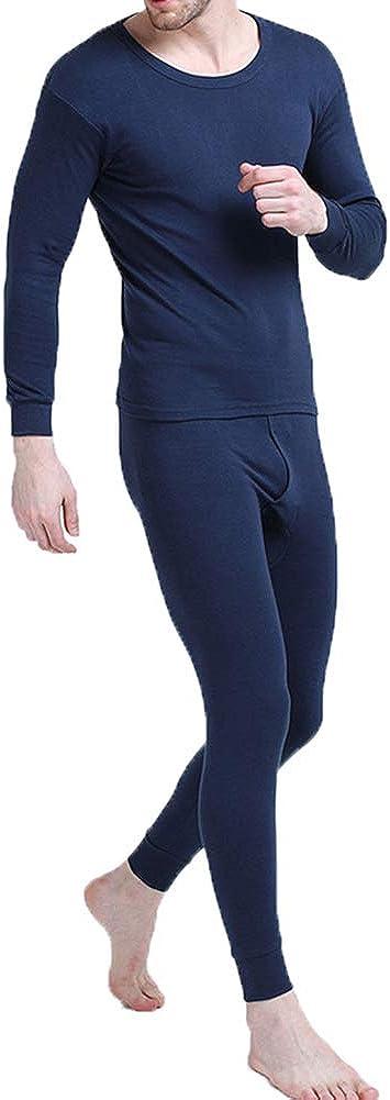 Men's Cotton Light Weight Thermals Underwear Set Top & Bottom Long Johns 01Blue 2XL