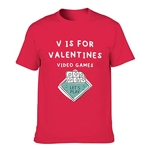 Camiseta de algodón para hombre con diseño de V para el día de San Valentín, divertida y elegante, ajuste moderno, temática de camisetas Red1 M