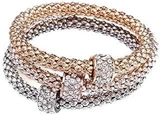 NEVI 3 in 1 Designer Zirconia Imitation Gold Plated Party Bangle Kadaa Bracelet for Women & Girls (Gold Silver)