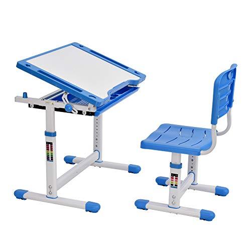 Bellanny Kinderschreibtisch und Stuhl Set, Schülerschreibtisch Jugendschreibtisch, Schreibtisch Kinder, höhenverstellbar, mit Tilt Desktop, für Malen, mit Metallhaken, Stuhl und Schublade -blau
