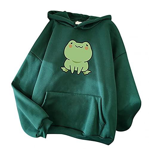 Aniywn Women's Cute Sweatshirts Frog Print Long Sleeve Hoodie Pullover Tops Ladies Kawaii Style Pocket Hooded Jumper Army Green