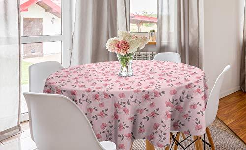 ABAKUHAUS Floral Nappe Ronde, Pétales romantiques Fleurs Linum, Nappe en Cercle pour Salle à Manger ou Cuisine, 150 cm, Rose pâle et Gris