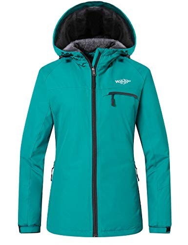 Wantdo Women's Waterproof Ski Fleece Jacket Winter Warm Coat for Snow Sports Outdoors Moonblue L