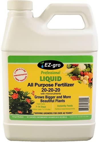 EZ-gro 20 20 20 Fertilizer - All Purpose Liquid Plant Food - Lawn, Flower, Herb, Vegetables - Best Way to Grow Green Plants - Garden-Growing Miracle Nutrients - 1 Qt / 32 fl oz / 946 mL