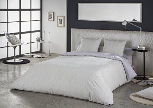 ES-TELA - Juego de funda nórdica tejida LLORET (3 piezas) - Color blanco - Cama de 105 cm. - Hilo tintado - 50% Algodón /...