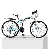 21 Velocidades Bicicletas De Ambos Sexos De 10 Cuchillo De Ruedas De Bicicleta De Montaña Bicicleta De Adulto Plegable Doble Amortiguación Fuera De Carretera De Velocidad Variable Y,White blue,24 inch