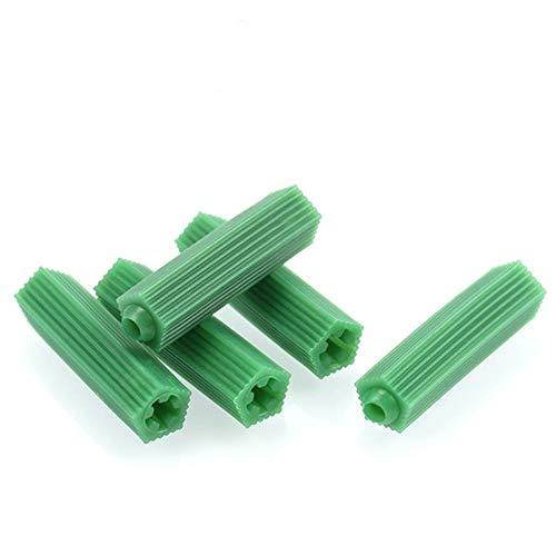 Gouen 200 stks groene metselwerk schroef bevestiging muur anker expansie buis gipsplaat plastic anker muur plug metselwerk boor droog, M6 (200 stks)