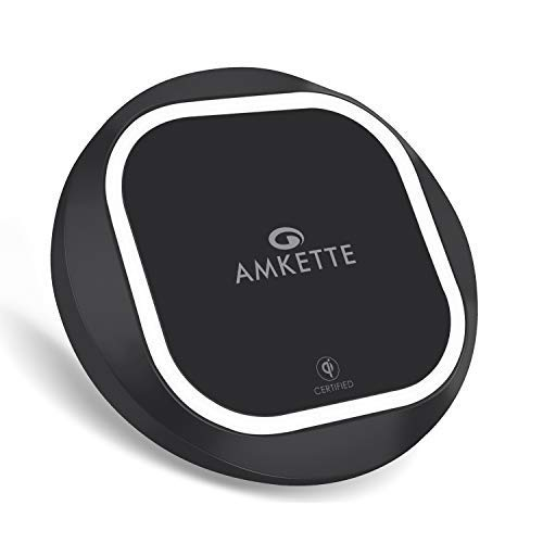 Amkette Power Pro Air 300 Qi Certified Wireless Charger for iPhone XR/XS/8 Plus/ 8,Samsung Galaxy S9+/S9, Google Pixel 3/3XL and Other Qi Enabled Devices (5W, 7.5W & 10W) (Black)