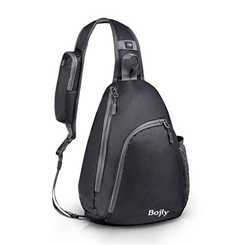 BOJLY Brusttasche Sling Rucksack Schultertasche Brusttaschen für Damen und Herren Daypack Militär Sporttasche Schwarz
