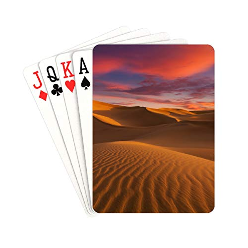 QIAOLII Traditional Playing Cards Beautiful Desert In The Sunset Playing Cards for Men Unique for Kids & Adults Card Decks Games Standard Size