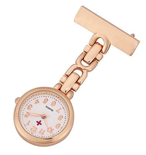 ShoppeWatch Enfermeras Pin de la Solapa del Reloj análogo Fob Control de Infecciones del Reloj de Oro Rosa NW-237