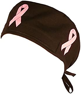 Pink Ribbon Breast Cancer Awareness Scrub Cap Headwrap with Tie