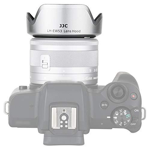 Gegenlichtblende für Canon EF-M 15-45 mm f/3.5-6.3 IS STM Objektiv auf Canon EOS M5 M50 M6 M6 Mark II M10 M100 M200 DSLR-Kamera, ersetzt Canon EW-53 Gegenlichtblenden, Grau