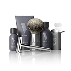 LUXURY SAFETY RAZOR KIT - This shaving kit includes everything you need for a cleaner, smoother shave that reduces bumps, ingrown hairs, and skin irritation PERFECT GIFT FOR MEN - The Bevel Starter Shave Kit makes for the perfect mens gift for your f...