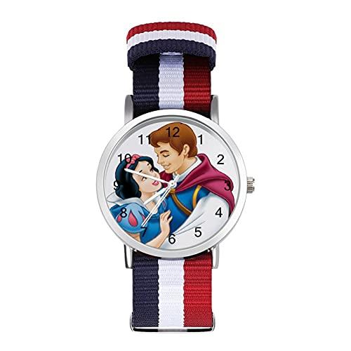 Snow White Seven Enanos Reloj con correa tejida a escala ajustable muñeca linda personalidad unisex
