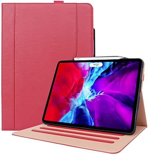 """ProCase Funda Cuero PU para iPad Pro 12,9 2020, Carcasa Tipo Libro con Portalápiz/Suspensión Automática, Apoya Cargar Apple Pencil 2, para iPad Pro 12.9"""" 4.ª Generación -Rojo"""