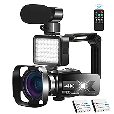 Video Camera Camcorder with Microphone 56.0MP Real 4K Camcorder WiFi Camera Live Streaming Webcam Recorder YouTube Vlogging Camera Video Recorder Photography Stabilizer Remote Control, 2 Batteries by KOMERY