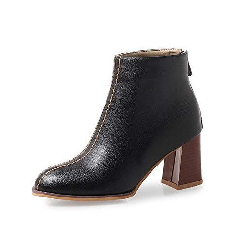 SMSZTYM Concise PU en Cuir Cheville Bottes pour Femmes Chaussures Non Slip en Caoutchouc Semelle Femmes Automne Bottes d'hiver Courte en Peluche À Coudre Femmes Bottes