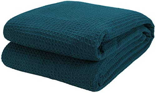 Cotton Clinic 100% Cotton Bed Blanket, Bed Blanket King Size, Cotton Thermal Blankets King Size, Perfect for Layering Any Bed for All Season, Soft and Breathable Teal Blanket