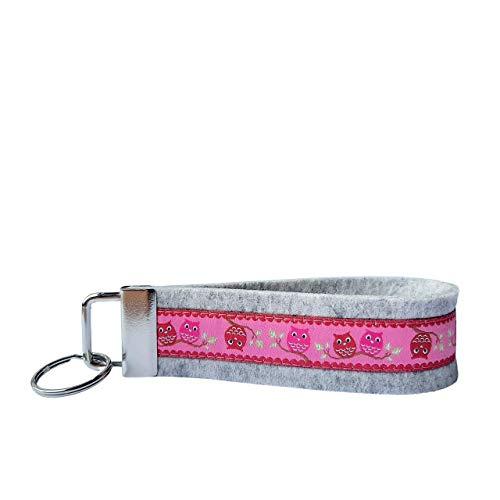 Schlüsselanhänger Schlüsselband Wollfilz hellgrau Webband Eulen rosa rot Geschenk