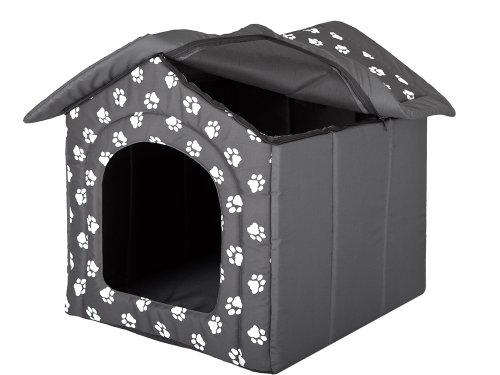 Hundehöhle mit Pfoten Katzenhöhle Hundehütte Hundebett Katzenbett Hundehaus S-XL (XL 60x55cm) - 4