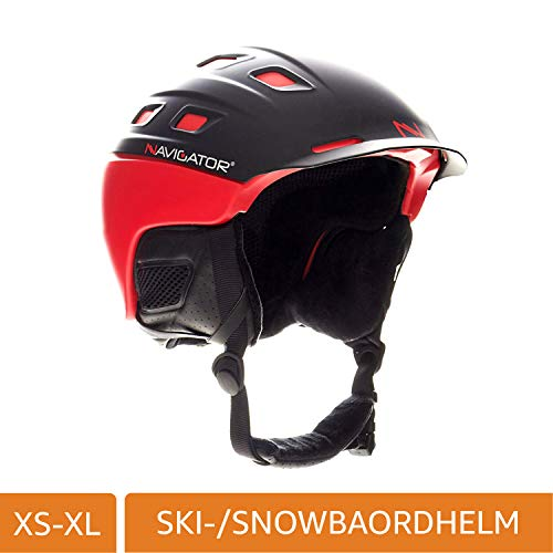 NAVIGATOR PARROT Ski-Helm & Snowboardhelm mit TÜV und CE-zertifiziert, dank innovativer Kombination aus ABS und Inmould Technologie hat dieser Helm weniger Gewicht bei bleibender Sicherheit, ROT, M-XL