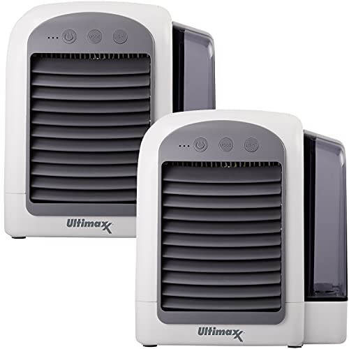 Ultimaxx 2 Pack - CORDLESS, Portable Mini Air Conditioner with 3 Speeds - Personal Air Conditioner Cooling Fan is Whisper-Quiet & Doubles as a Dehumidifier for Bedroom, Office/Desk, Camping & More
